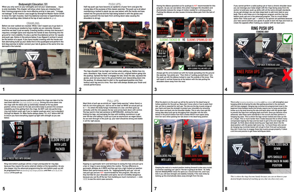 First 8 pages of the Bodyweight Education chapter